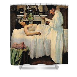 The First Attempt To Treat Cancer With X Rays Shower Curtain by Georges Chicotot