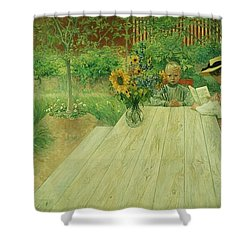 The First Lesson Shower Curtain by Carl Larsson