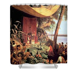 The First Mass Held In The Americas Shower Curtain by Pharamond Blanchard