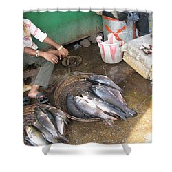The Fish Seller Shower Curtain by David Pantuso