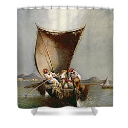 The Fisherman's Family Shower Curtain by Consalvo Carelli