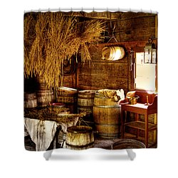 The Fort Nisqually Granary Shower Curtain by David Patterson