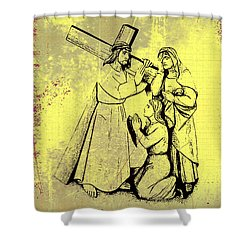 The Fourth Station Of The Cross - Jesus Meets His Mother Shower Curtain by Bill Cannon