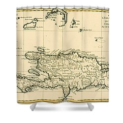 The French And Spanish Colony Of The Island Of St Dominic Of The Greater Antilles Shower Curtain by Guillaume Raynal