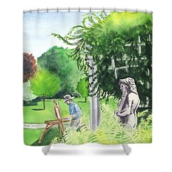 Shower Curtain featuring the painting the garden at the wellers carriage house in Saline  Michigan 1 by Yoshiko Mishina