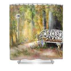 Shower Curtain featuring the painting The Garden Bench by Bonnie Willis