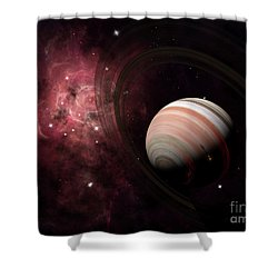 The Gas Giant Carter Orbited By Its Two Shower Curtain by Brian Christensen