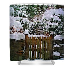 The Gate Shower Curtain by Amanda Moore