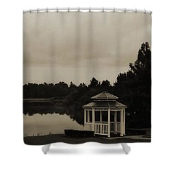 Shower Curtain featuring the photograph The Gazebo At The Lake by DigiArt Diaries by Vicky B Fuller
