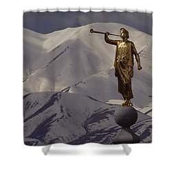 The Gilded Statue Of The Angel Moroni Shower Curtain by James P. Blair