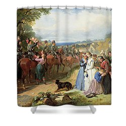 The Girls We Left Behind Us - The Departure Of The 11th Hussars For India Shower Curtain by Thomas Jones Barker
