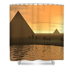 Shower Curtain featuring the digital art The Giza Necropolis by Phil Perkins