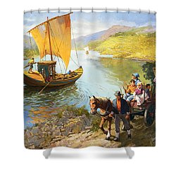 The Grape-pickers Of Portugal Shower Curtain by van der Syde