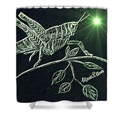 Shower Curtain featuring the drawing The Grasshopper by Maria Urso