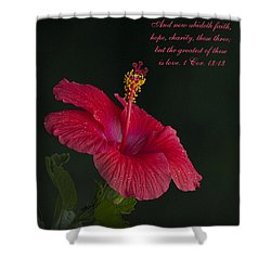 The Greatest Of These Is Love Shower Curtain by Kathy Clark