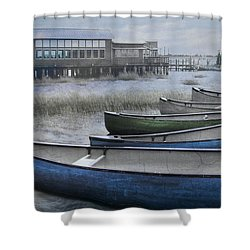 The Green Canoe Shower Curtain by Debra and Dave Vanderlaan
