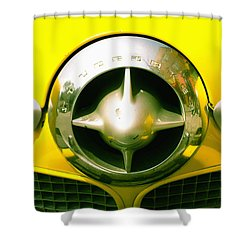 The Grill Of A Yellow Studebaker Car Shower Curtain by David DuChemin