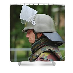 The Helmet And Visor Used Shower Curtain by Luc De Jaeger