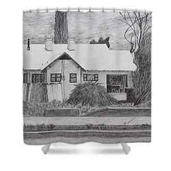 Shower Curtain featuring the drawing The House Across by Kume Bryant