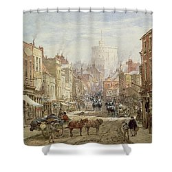 The Household Cavalry In Peascod Street Windsor Shower Curtain by Louise J Rayner