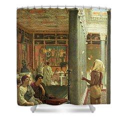 The Juggler Shower Curtain by Sir Lawrence Alma-Tadema