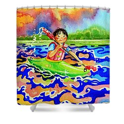 The Kayak Racer 12 Shower Curtain by Hanne Lore Koehler