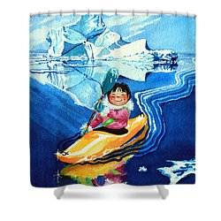The Kayak Racer 13 Shower Curtain by Hanne Lore Koehler