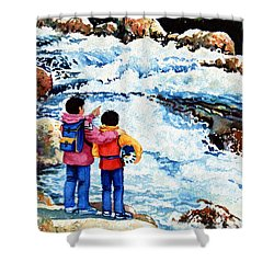 The Kayak Racer 14 Shower Curtain by Hanne Lore Koehler