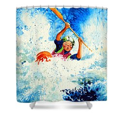 The Kayak Racer 16 Shower Curtain by Hanne Lore Koehler
