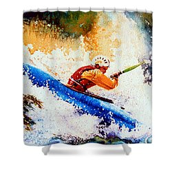 The Kayak Racer 17 Shower Curtain by Hanne Lore Koehler