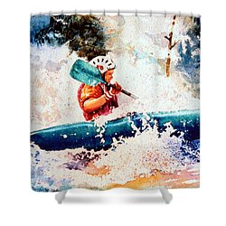 The Kayak Racer 18 Shower Curtain by Hanne Lore Koehler