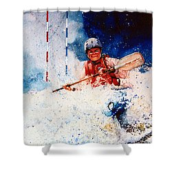 The Kayak Racer 20 Shower Curtain by Hanne Lore Koehler