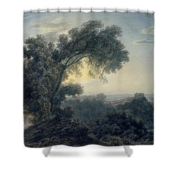 The Lake Of Albano And Castle Gandolfo  Shower Curtain by John Robert Cozens