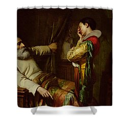 The Last Moments Of Christopher Columbus  Shower Curtain by Claude Jacquand