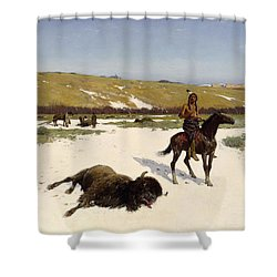 The Last Of The Herd Shower Curtain by Henry Francois Farny