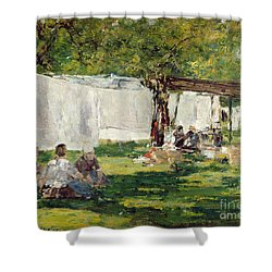 The Laundry At Collise St. Simeon  Shower Curtain by Eugene Louis Boudin