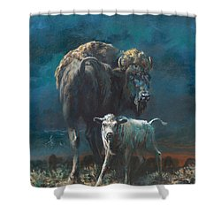 The Legend Begins Shower Curtain by Mia DeLode