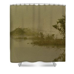 The Lodge In The Mist Shower Curtain by Skip Willits