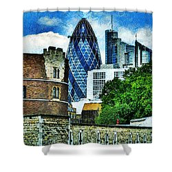 The London Gherkin  Shower Curtain