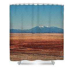 The Long Road To The Meteor Crater In Az Shower Curtain by Susanne Van Hulst
