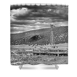 the lonly windmill in B and W Shower Curtain