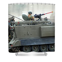 The M113 Tracked Infantry Vehicle Shower Curtain by Luc De Jaeger