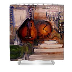Shower Curtain featuring the painting The Mandolin by Evelina Popilian