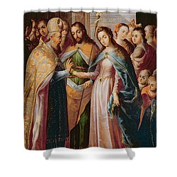 The Marriage Of Mary And Joseph Shower Curtain by Mexican School