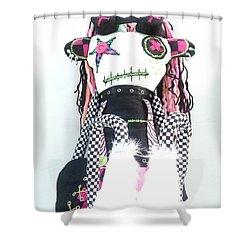 The Misfit Cyberpunk Pussy Cat Jones Version 1.0 Shower Curtain by Oddball Art Co by Lizzy Love
