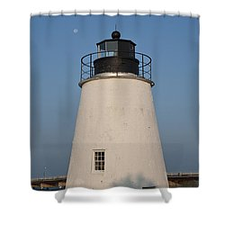 The Moon Behind The Piney Point Lighthouse Shower Curtain by Bill Cannon