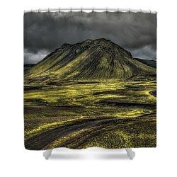 The Mountain Pass Shower Curtain by Evelina Kremsdorf