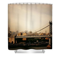The New York City Skyline And Manhattan Bridge At Sunset Shower Curtain by Vivienne Gucwa