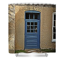 The Old Blue Door Shower Curtain by Mary Machare