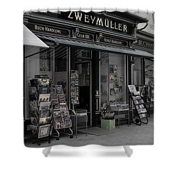 The Old Bookstore Shower Curtain by Mary Machare